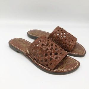 Sam Edelman Genovia Brown Woven Slide Sandal